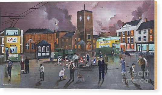 Dudley Trolley Bus Terminus 1950's Wood Print