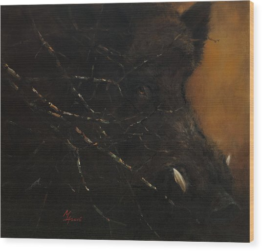 The Black Wildboar Wood Print