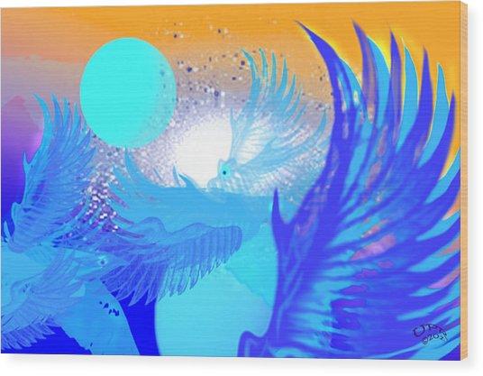 The Blue Avians Wood Print