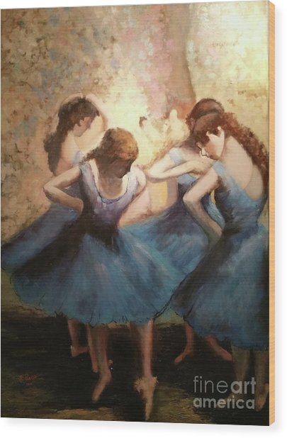 The Blue Ballerinas - A Edgar Degas Artwork Adaptation Wood Print