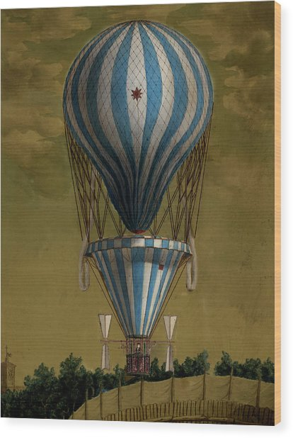 The Blue Balloon Wood Print