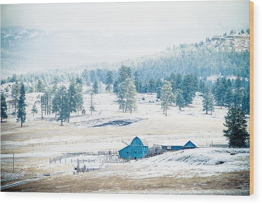 Wood Print featuring the photograph The Blue Barn by Jason Smith