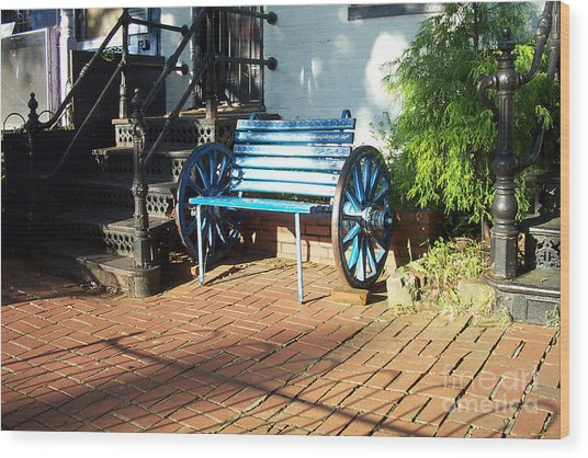 The Blue Bench Wood Print