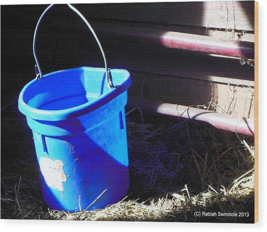 The Blue Bucket Wood Print