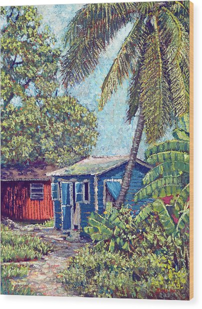 The Blue Cottage Wood Print