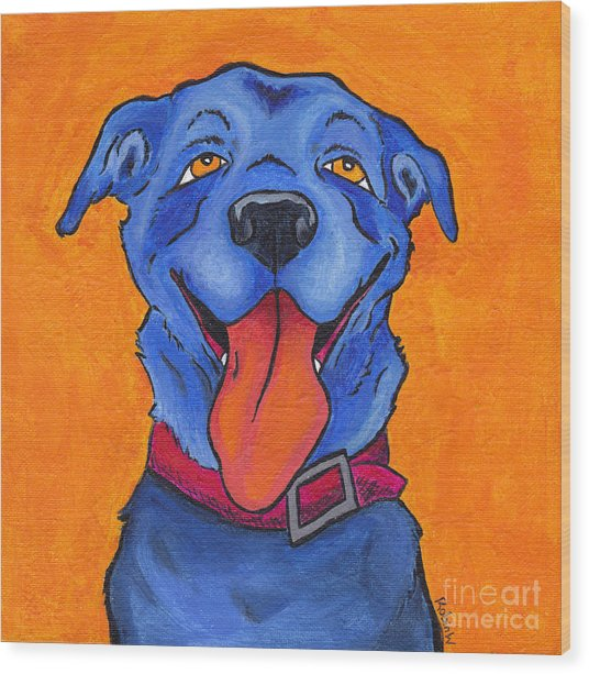 The Blue Dog Of Sandestin Wood Print by Robin Wiesneth