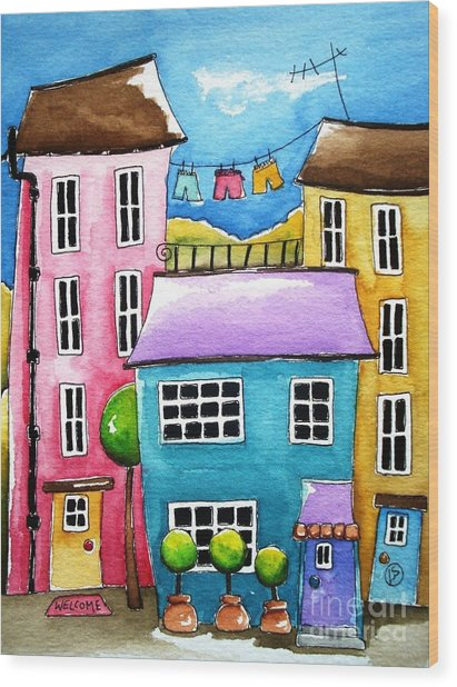 The Blue House Wood Print by Lucia Stewart