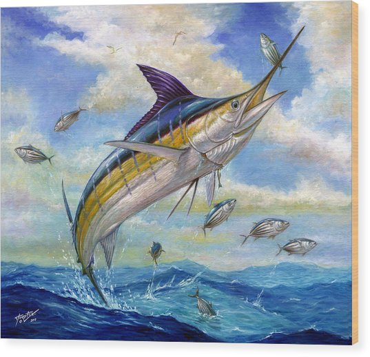 The Blue Marlin Leaping To Eat Wood Print