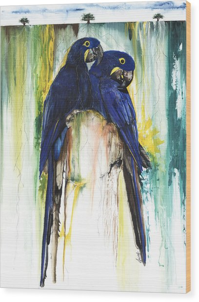 The Blue Parrots Wood Print