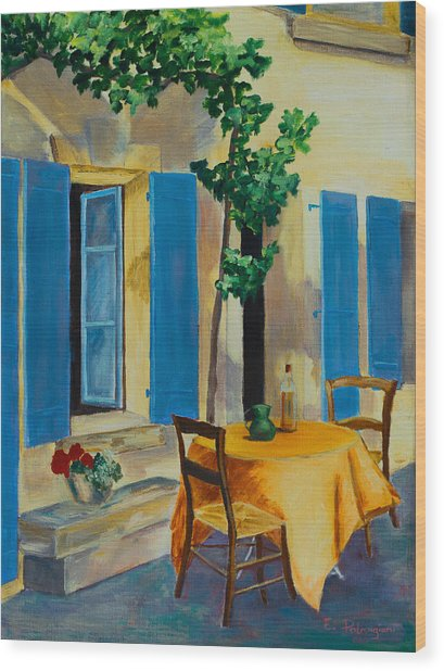 The Blue Shutters Wood Print