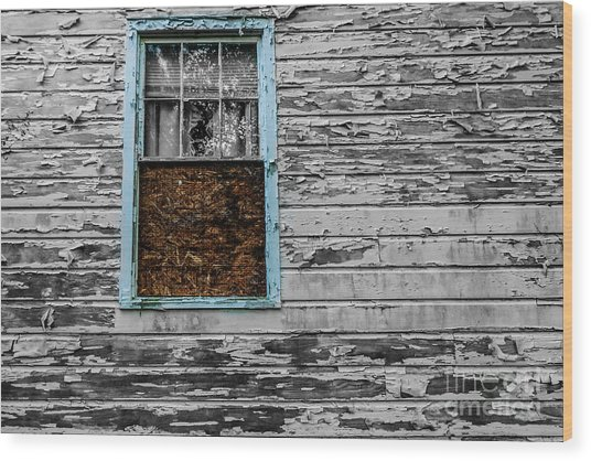 The Blue Window Wood Print