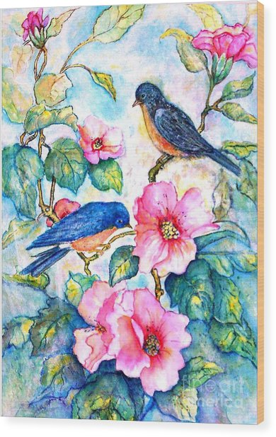The Bluebirds Are Back Wood Print by Norma Boeckler