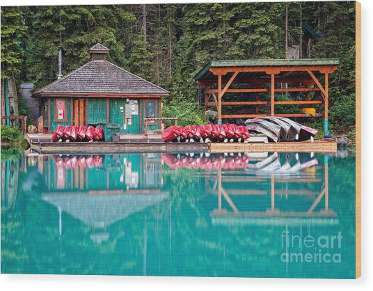 The Boat House At Emerald Lake In Yoho National Park Wood Print