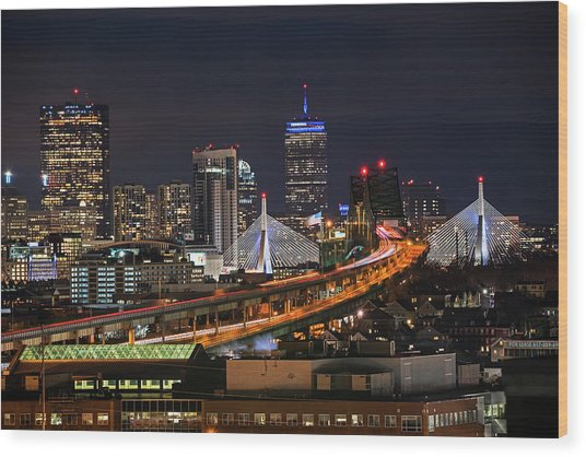 The Boston Skyline Boston Ma Full Zakim Wood Print
