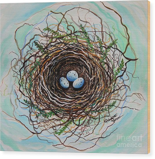 The Botanical Bird Nest Wood Print