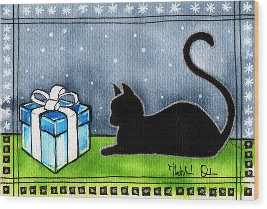 The Box Is Mine - Christmas Cat Wood Print