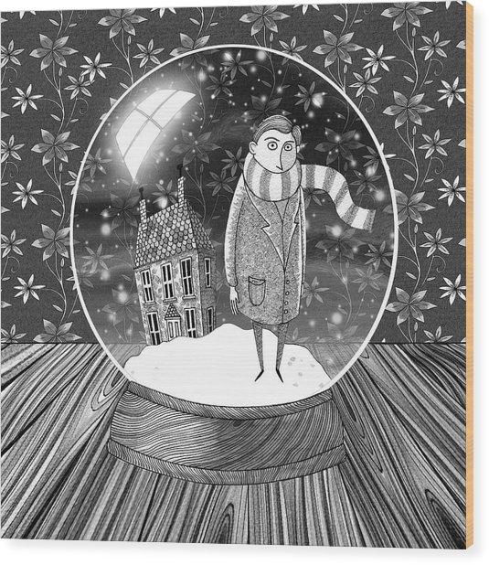 The Boy In The Snow Globe  Wood Print