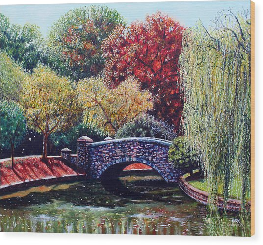 The Bridge At Freedom Park Wood Print by Jerry Kirk