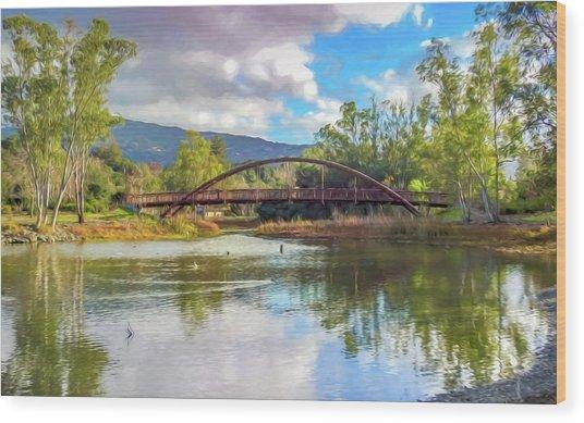 The Bridge At Vasona Lake Digital Art Wood Print