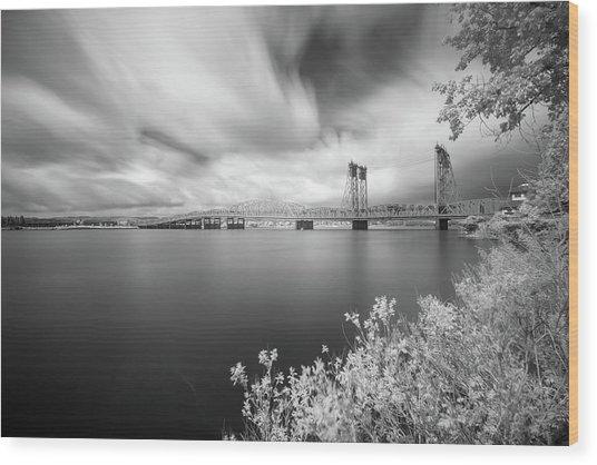 The Bridge Crosses Columbia River Wood Print