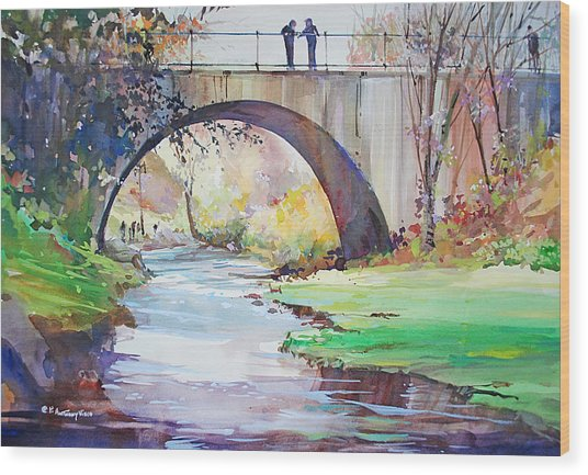 The Bridge Over Brewster Garden Wood Print