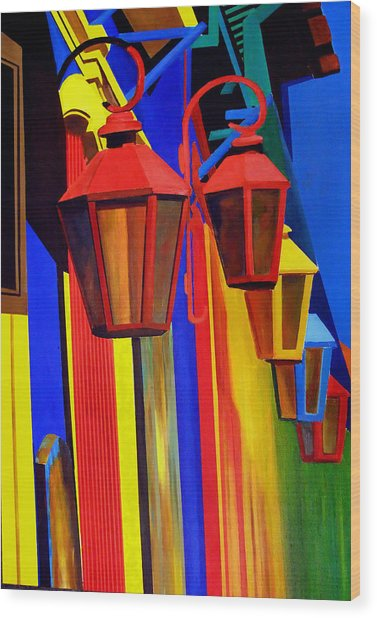 The Bright Lamps Of La Boca Wood Print by JoeRay Kelley