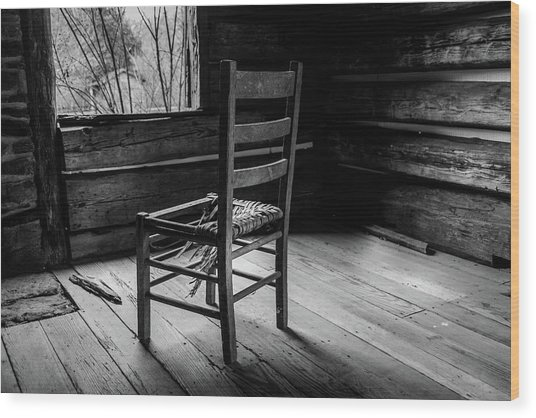 The Broken Chair Wood Print