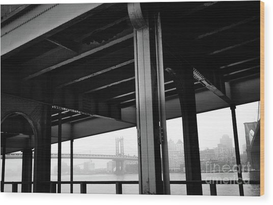The Brooklyng Bridge And Manhattan Bridge From Fdr Drive Wood Print