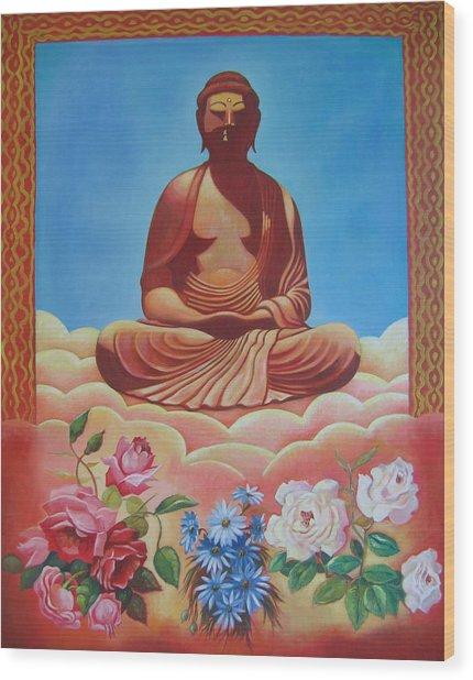 The Budha Wood Print by Hiske Tas Bain