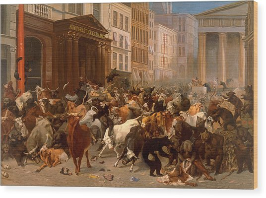 Wood Print featuring the painting The Bulls And Bears In The Market by William Holbrook Beard