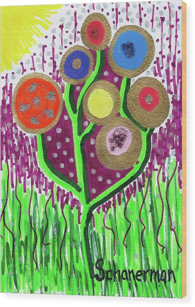 The Button Ball Tree Wood Print