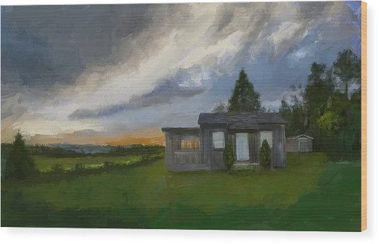 The Cabin On The Hill Wood Print