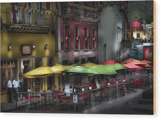 The Cafe At Night Wood Print
