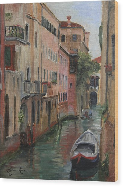 The Canal Less Travelled Wood Print by Anna Rose Bain