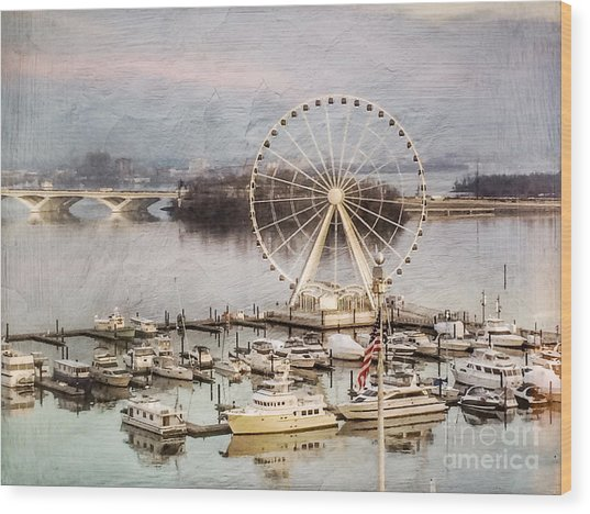 The Capital Wheel At National Harbor Wood Print