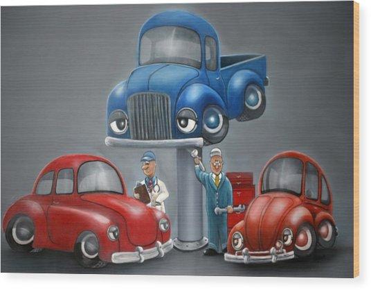 The Car Hospital Wood Print by Ofelia  Arreola
