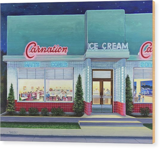 The Carnation Ice Cream Shop Wood Print