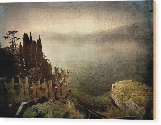The Castle On The Lake. Malcesine Wood Print