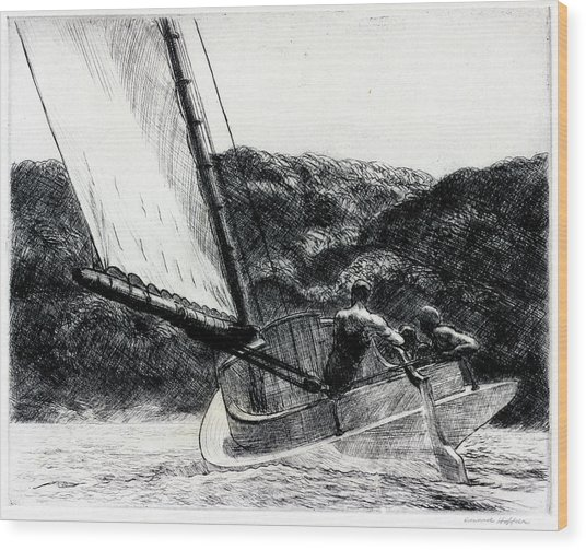 The Cat Boat Wood Print