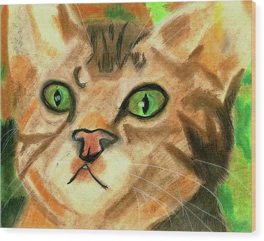 The Cat Face Wood Print