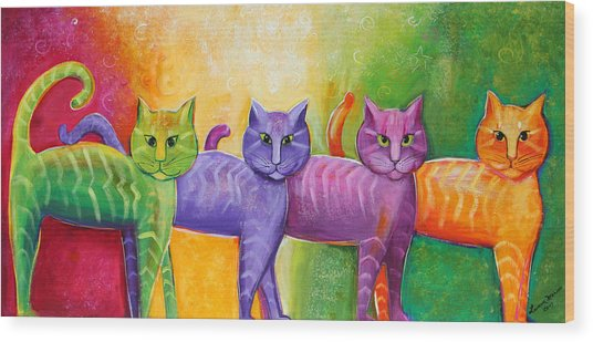 The Cat Walk Wood Print