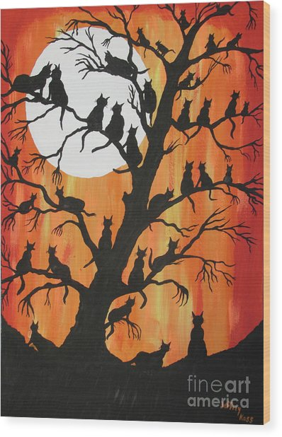 The Cats On Night Watch Wood Print