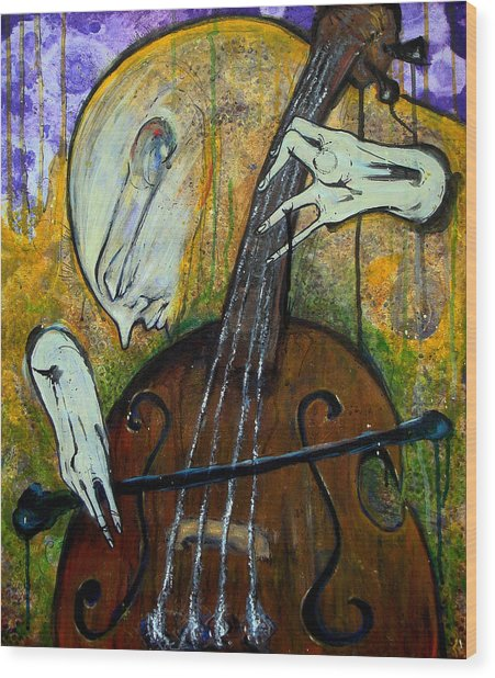 The Celloist Wood Print by Mark M  Mellon
