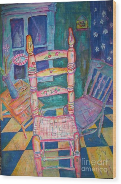The Chair 2 Wood Print by Marlene Robbins