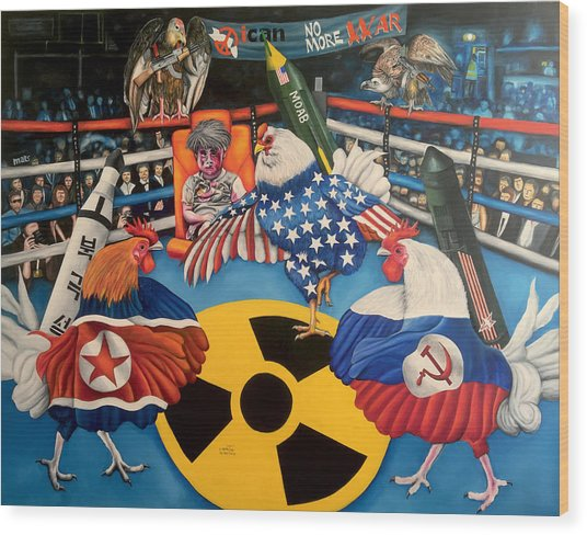 The Chickens Fight Wood Print