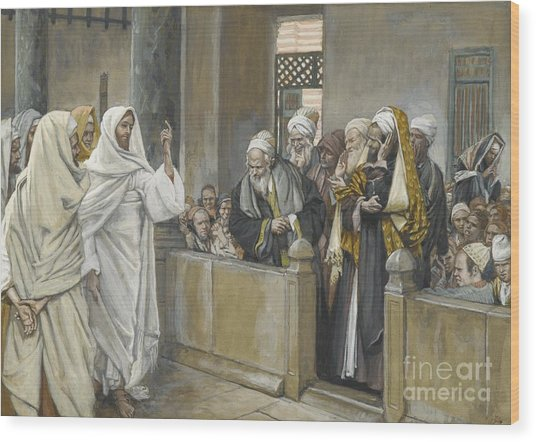 The Chief Priests Ask Jesus By What Right Does He Act In This Way Wood Print