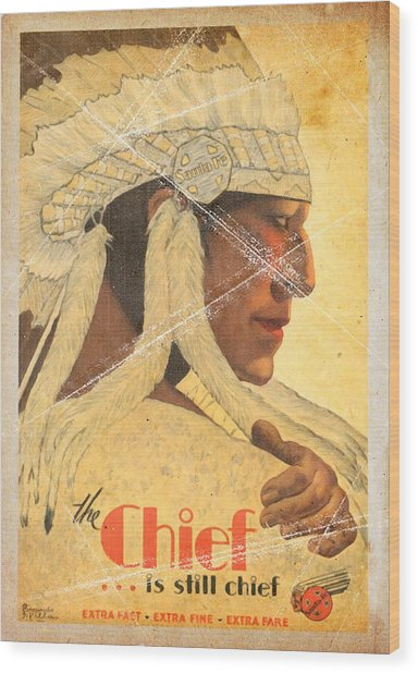 The Chief Train - Vintage Poster Folded Wood Print