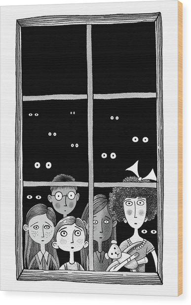 The Children In The Window Wood Print by Andrew Hitchen