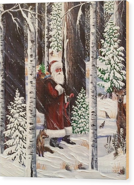 The Christmas Forest Visitor 2 Wood Print