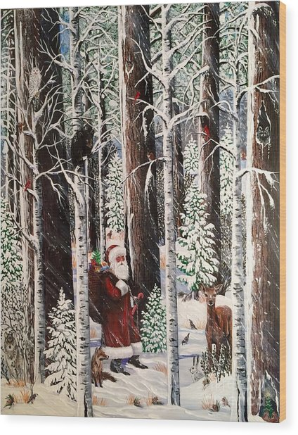 The Christmas Forest Visitor Wood Print